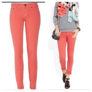 J Crew Toothpick Ankle Jean Coral